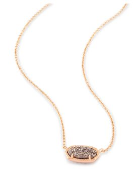 Elisa Rose Gold Pendant Necklace In Platinum Drusy by Kendra Scott