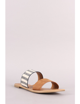 Double Band Open Toe Slide Flat Sandal by Urbanog