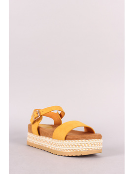 Ankle Strap Striped Flatform Sandal by Urbanog