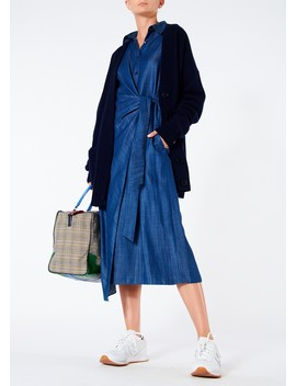 Dark Indigo Drape Shirt Dress by Tibi