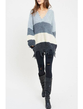 Ripped Color Block Sweater by Sole, Statesboro
