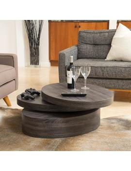 Lenox Oval Mod Rotating Wood Coffee Table by Gdf Studio