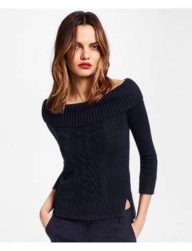 Supima® Cotton Portrait Neck Sweater by Brooks Brothers