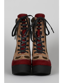 Panel Lace Up Lug Flatform Combat Boot by Urbanog