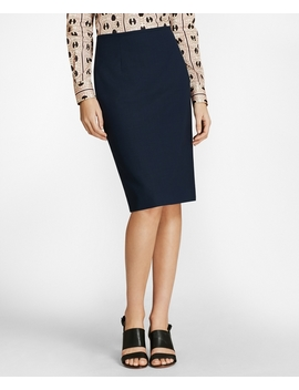 Mini Check Wool Brooks Cool® Pencil Skirt by Brooks Brothers