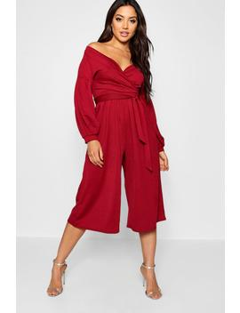 Off The Shoulder Culotte Jumpsuit by Boohoo