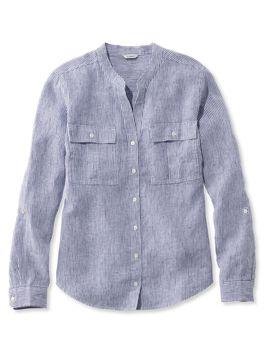 Premium Washable Linen Roll Tab Shirt, Long Sleeve Stripe by L.L.Bean