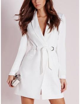 White Lapel V Neck Tie Waist Long Sleeve Blazer Mini Dress by Choies