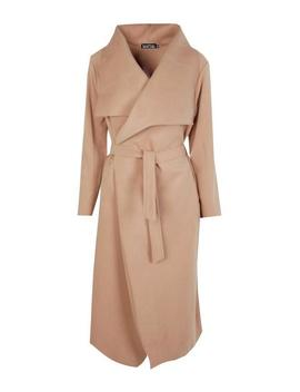 Belted Waterfall Coat by Boohoo