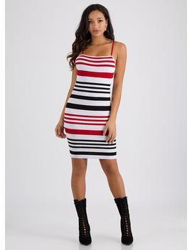 Stripe Me Down Rib Knit Tank Dress by Go Jane