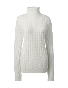 Women's Petite Combed Cotton Cable Turtleneck Sweater by Lands' End