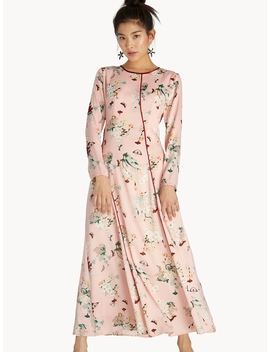 Maxi Contrast Piping Floral Flared Dress   Pink by Pomelo