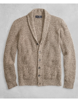 Golden Fleece® 3 D Knit Marled Alpaca Blend Shawl Collar Cardigan by Brooks Brothers