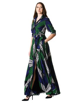 Graphic Leaf Print Crepe Maxi Shirtdress by Eshakti