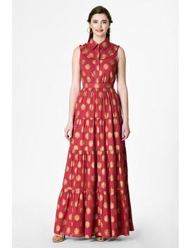 Gold Foil Print Cotton Ruched Tier Maxi Dress by Eshakti