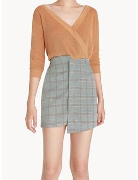Mini Asymmetric Glen Plaid Skirt   Yellow by Pomelo