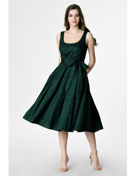 Graphic Leaf Print Cotton Sash Tie Dress by Eshakti