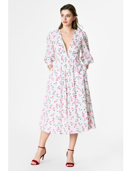 Plunge Floral Print Cotton Dress by Eshakti