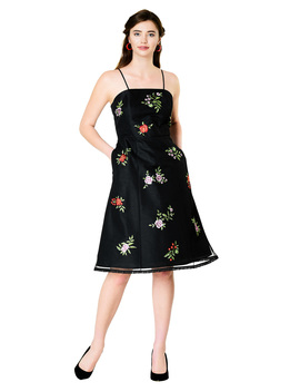 Floral Embellished Tulle Overlay Dupioni Dress by Eshakti