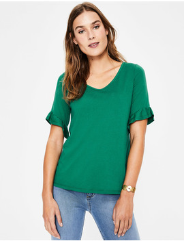 Supersoft Frilled Cuff Tee by Boden