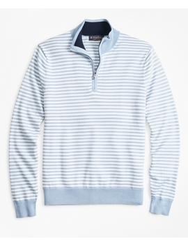 Yacht Stripe Half Zip Sweater by Brooks Brothers