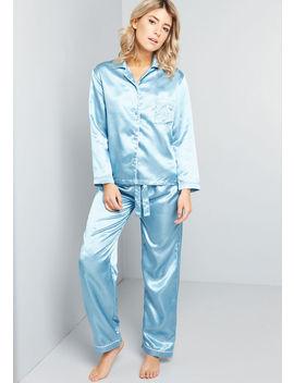 Sleep All Day Satin Pajamas by Modcloth