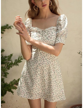 White Chiffon Square Neck Floral Print Puff Sleeve Mini Dress by Choies