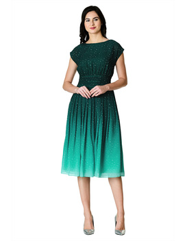 Ombre Star Print Georgette Pleated Empire Dress by Eshakti