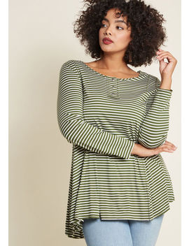 At It Again Henley Tunic In Striped Olive by Modcloth