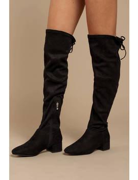 Cross Black Knee High Boots by Tobi