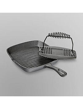 Essential Home Cast Iron Grill Pan And Press Essential Home Cast Iron Grill Pan And Press by Kmart