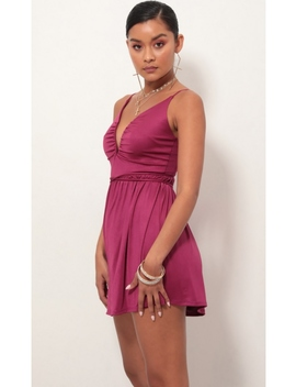 Low V Plunge Dress In Fuchsia by Lucy In The Sky