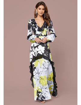 Print Ruffled Gown by Bebe