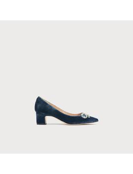 Annabelle Blue Velvet Bow Heels by L.K.Bennett