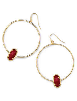 Elora Gold Hoop Earring In Dark Red by Kendra Scott