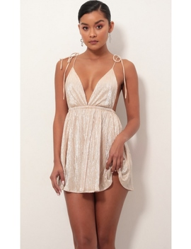 Skye Shoulder Tie Dress In Champagne by Lucy In The Sky