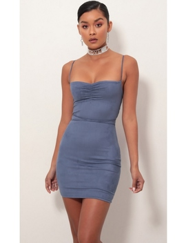 Kendall Bodycon Dress In Blue Suede by Lucy In The Sky