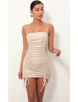 Double Trouble Ruched Dress In Light Gold by Lucy In The Sky