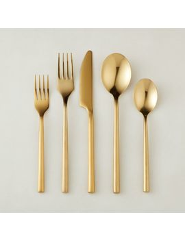 20 Piece Rush Brushed Gold Flatware Set by Crate&Barrel
