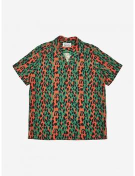 Leopard Short Sleeve Hawaiian Shirt   Green/Pink by Wacko Maria