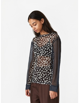 Pam Perks And Mini Dipped And Rolled Mesh Top   Navy Print by Perks & Mini