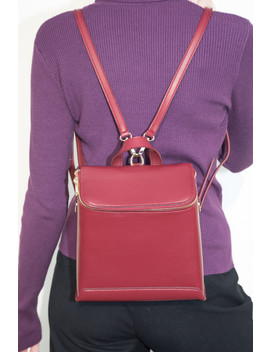 Red Faux Leather Backpack Purse by Brandy Melville