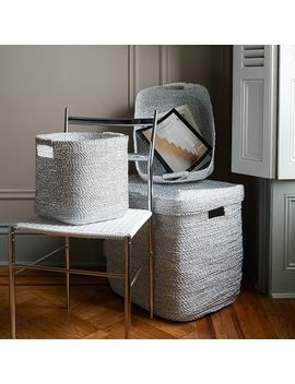 Metallic Woven Oversized Basket, Silver Plastic by West Elm