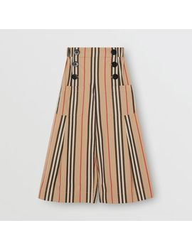 Icon Stripe Cotton Sailor Trousers by Burberry