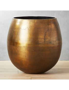 Rough Cast Extra Large Brass Planter by Crate&Barrel