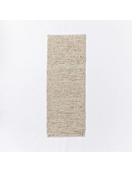 Mini Pebble Jute Wool Rug, 2.5'x7', Natural/Ivory by West Elm