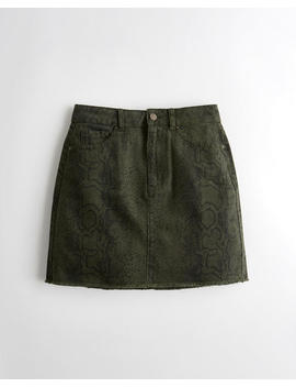 Ultra High Rise Snakeskin Denim Skirt by Hollister