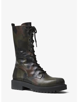 Brenna Camo Calf Leather Combat Boot by Michael Kors Collection