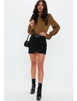 Brown Spotted Long Sleeve Frill Blouse by Missguided