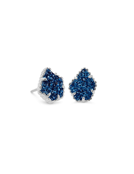 Tessa Silver Stud Earrings In Blue Drusy by Kendra Scott